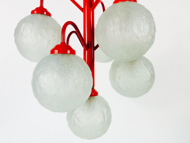 Mid-Century Modern Richard Essig 6-Arm Space Age Chandelier, 1970s, Germany For Sale
