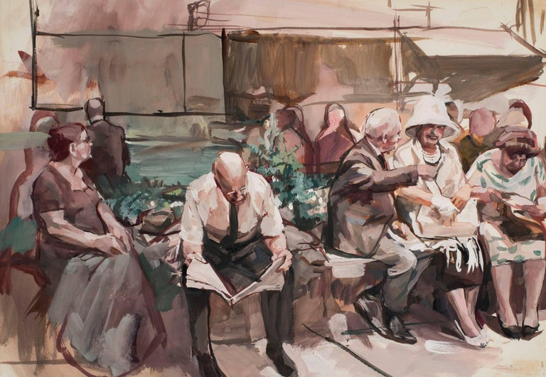 Richard Estes Figurative Art - Men and Women on Benches