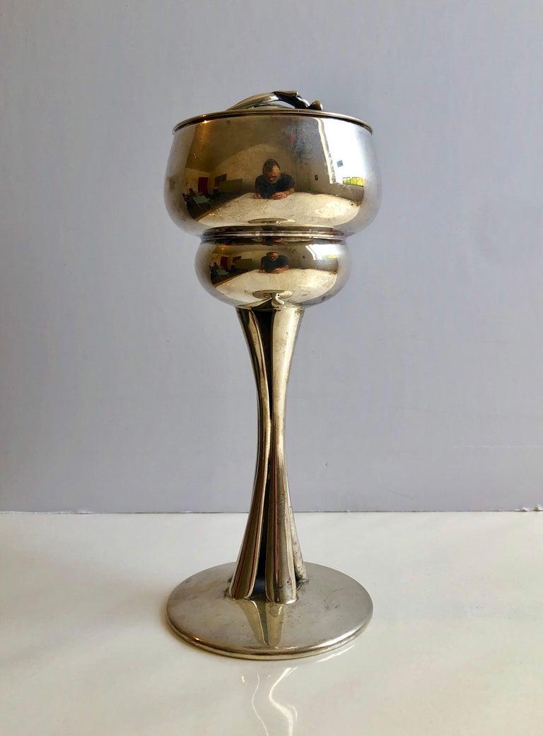 Sterling Silver Gilt Kiddush Cup Lidded Sculpture, Artist Designed Fine Judaica For Sale 8