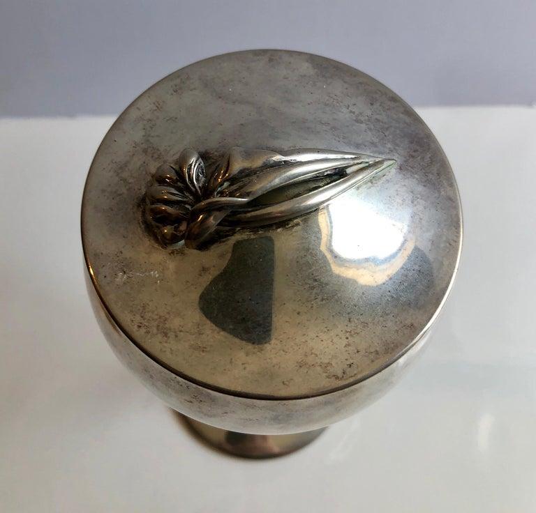 Sterling Silver Gilt Kiddush Cup Lidded Sculpture, Artist Designed Fine Judaica For Sale 1