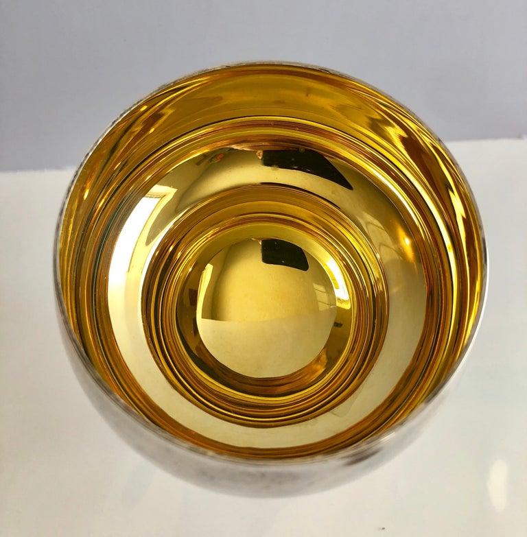 Sterling Silver Gilt Kiddush Cup Lidded Sculpture, Artist Designed Fine Judaica For Sale 2