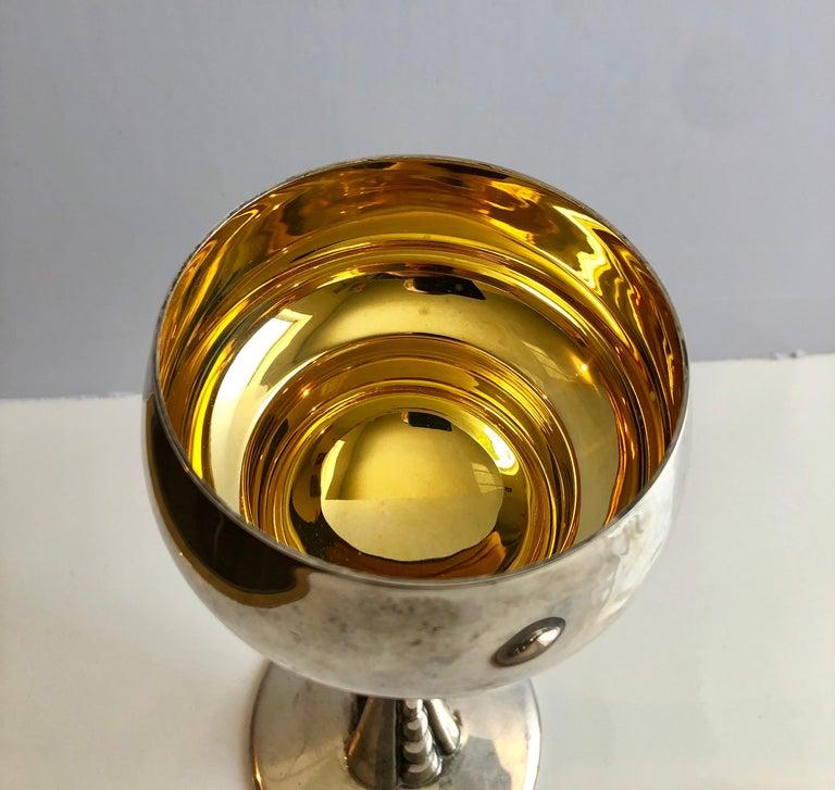 Sterling Silver Gilt Kiddush Cup Lidded Sculpture, Artist Designed Fine Judaica For Sale 4