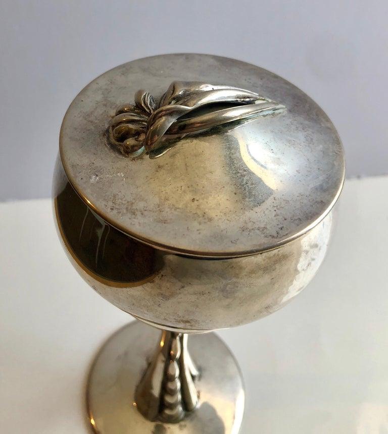 Sterling Silver Gilt Kiddush Cup Lidded Sculpture, Artist Designed Fine Judaica For Sale 5