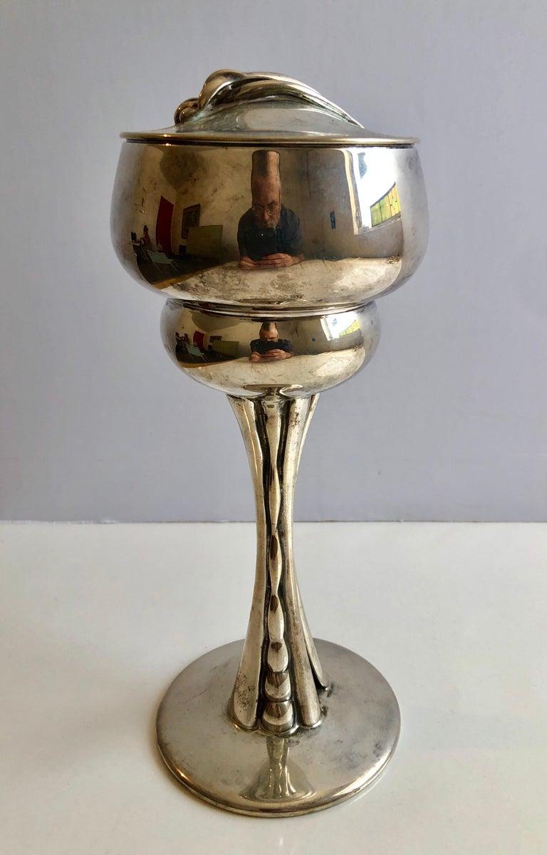 Sterling Silver Gilt Kiddush Cup Lidded Sculpture, Artist Designed Fine Judaica For Sale 6