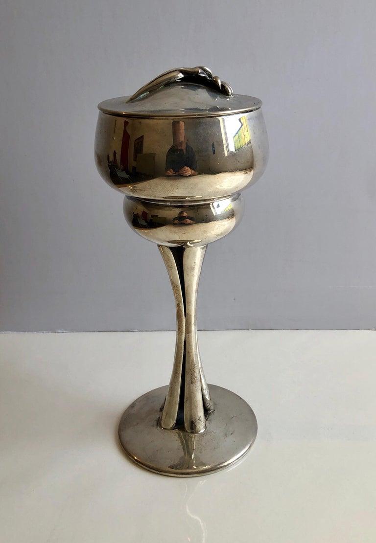 Sterling Silver Gilt Kiddush Cup Lidded Sculpture, Artist Designed Fine Judaica For Sale 7