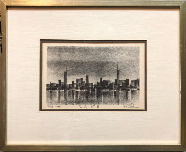 Cityscape Lithograph Chicago Modernist - Painting by Richard Florsheim