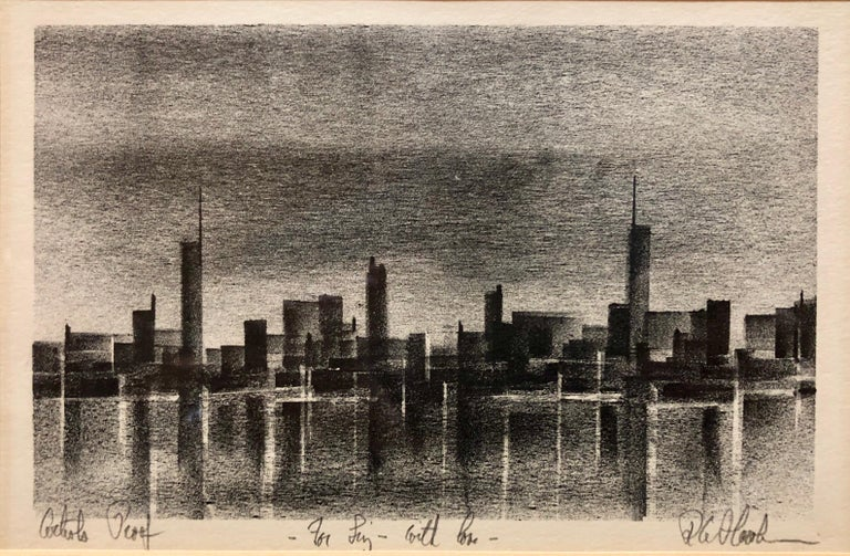 Richard Florsheim Landscape Painting - Cityscape Lithograph Chicago Modernist