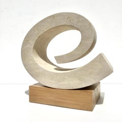 Wave III, Richard Fox. abstract stone sculpture on oak plinth, carved