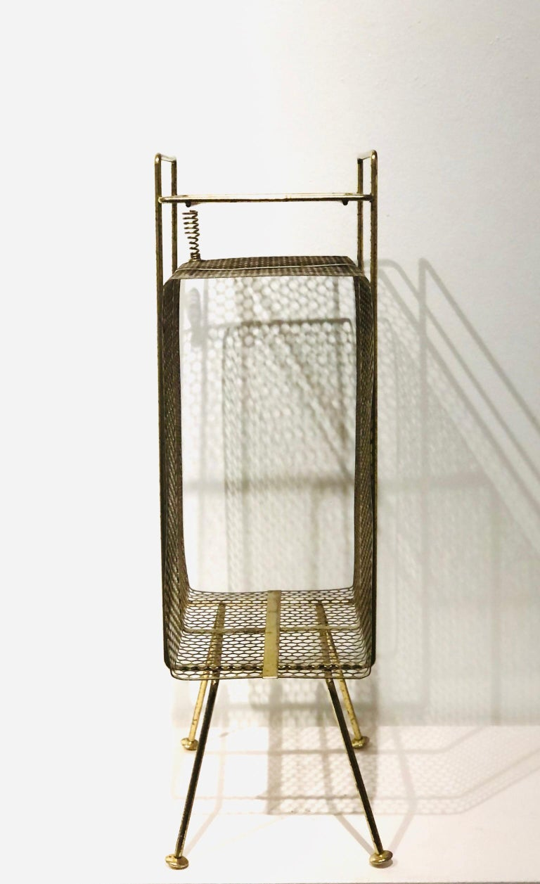 Mid-Century Modern Richard Galef Wire Perforated Metal Stand/ Rack in Brass Finish