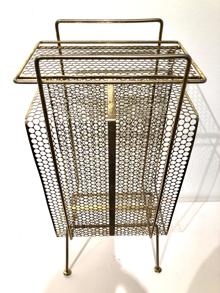 American Richard Galef Wire Perforated Metal Stand/ Rack in Brass Finish