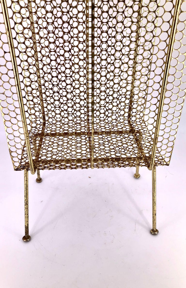 Richard Galef Wire Perforated Metal Stand/ Rack in Brass Finish In Fair Condition In San Diego, CA