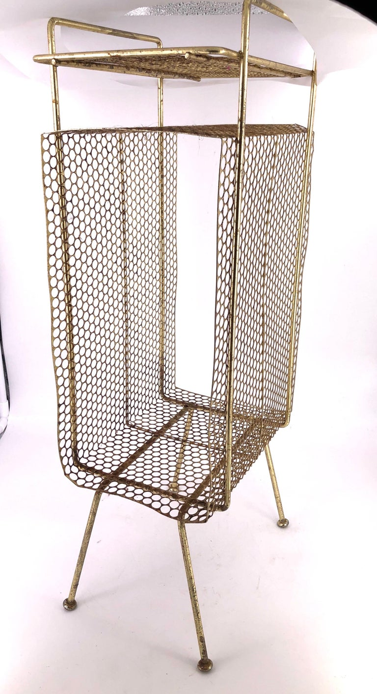 Richard Galef Wire Perforated Metal Stand/ Rack in Brass Finish 1