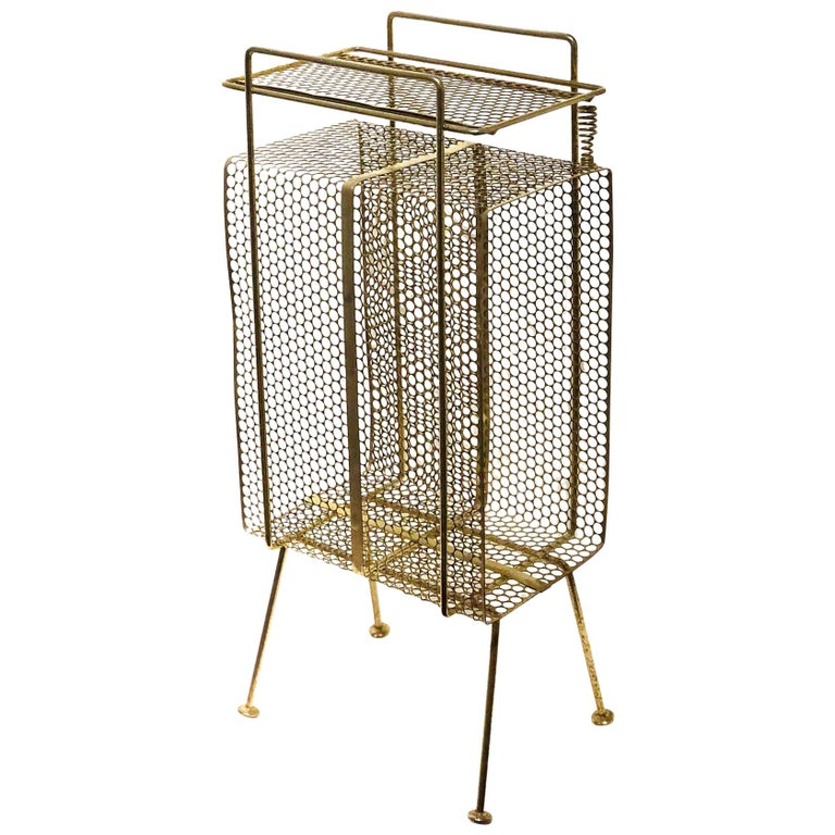 Richard Galef Wire Perforated Metal Stand/ Rack in Brass Finish