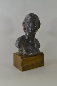 Alfreda, The Artist's Daughter - British 1950s plaster bust by Richard Garbe