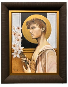 Beyond - Young Robed Male with Halo, Carrying a Bouquet of Lilies, Original Oil