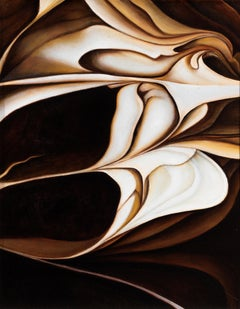 Earth Emergence Original Abstract Oil Painting, Swirling Shades of Brown & White