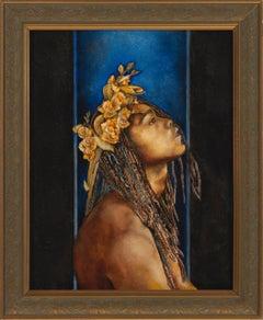 Eden - Male Nude Portrait with Dreadlocks on Navy Blue Background