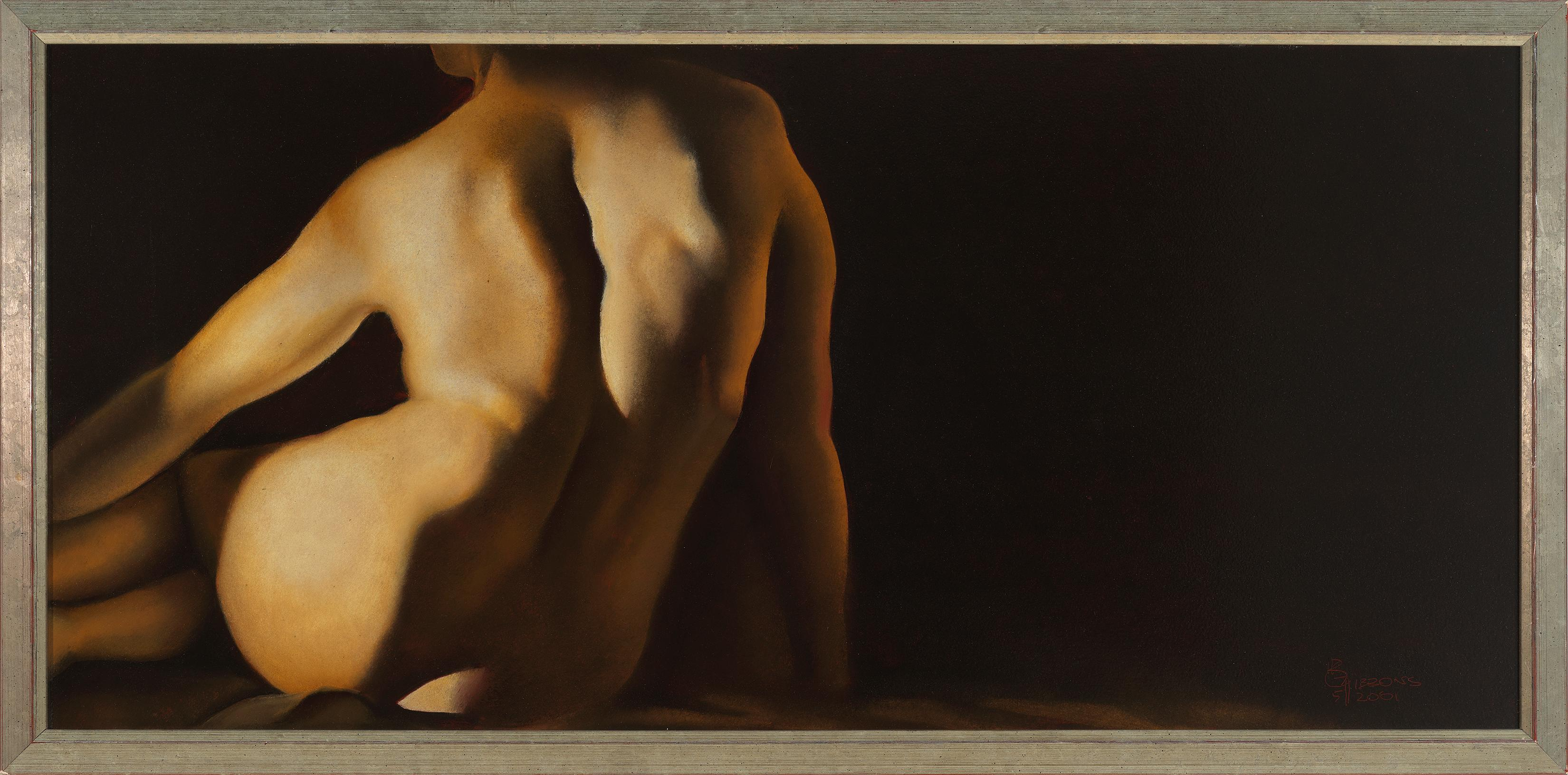 Figure F - Original Oil Painting of Nude Female Figure From Back in Soft Light