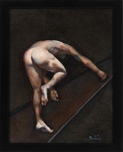 Flight, Male Nude, Posterior View, Climbing, Original Oil Painting, Framed