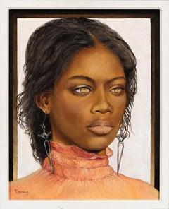 Golden Eyes - Portrait of a Woman with a Piercing Gaze, Original Oil Painting