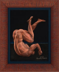 Icarus - Nude Male Tumbling Downward on Black Background, Oil on Panel