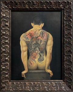 Ink, Muscular Male Nude with Intricate Floral and Skull Back Tattoo, Framed