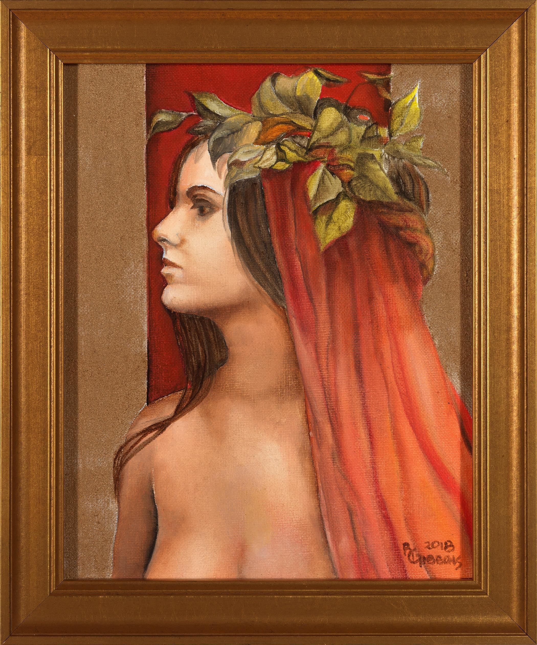 Innocence - Young Female Goddess with a Pink & Orange Veil and a Red Background