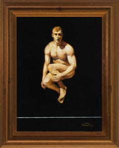 Leaping II - Male Nude on Black Background, Oil on Panel