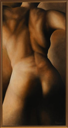 Movement (#172) - Original Oil Painting of Nude Female Back in Warm Skin Tones