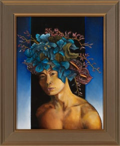 Orchids - Nude Male Torso with Blue Orchids and Blue Background, Oil on Panel