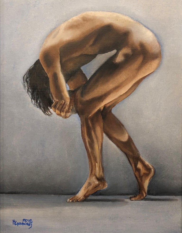 Question II, Contorted Male Nude, Pale Blue-Gray, Background, Oil on Canvas - Painting by Richard Gibbons