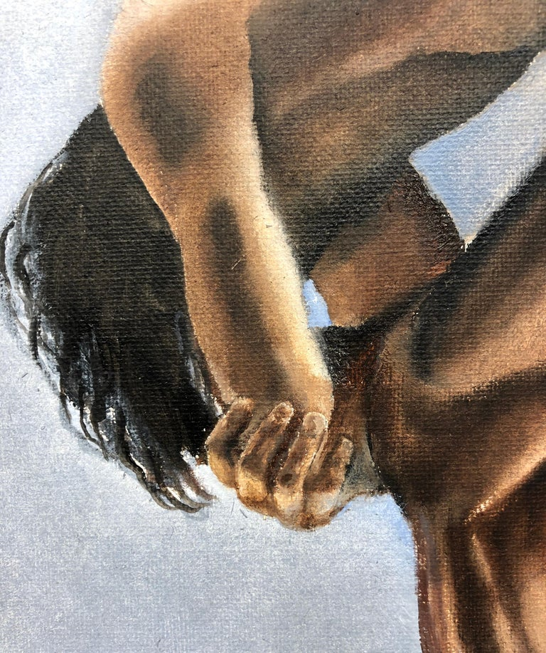Question II, Contorted Male Nude, Pale Blue-Gray, Background, Oil on Canvas - Contemporary Painting by Richard Gibbons