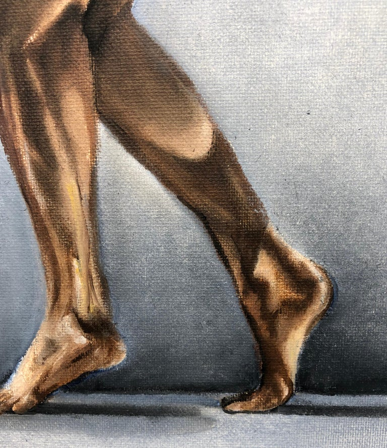 Question II, Contorted Male Nude, Pale Blue-Gray, Background, Oil on Canvas - Black Nude Painting by Richard Gibbons