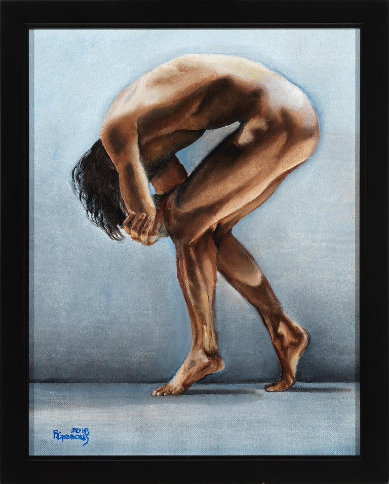 Richard Gibbons Nude Painting - Question II, Contorted Male Nude, Pale Blue-Gray, Background, Oil on Canvas