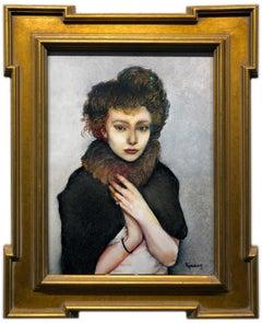 Remembering That Winter in Vienna, Portrait of a Women in Fur, Original Oil