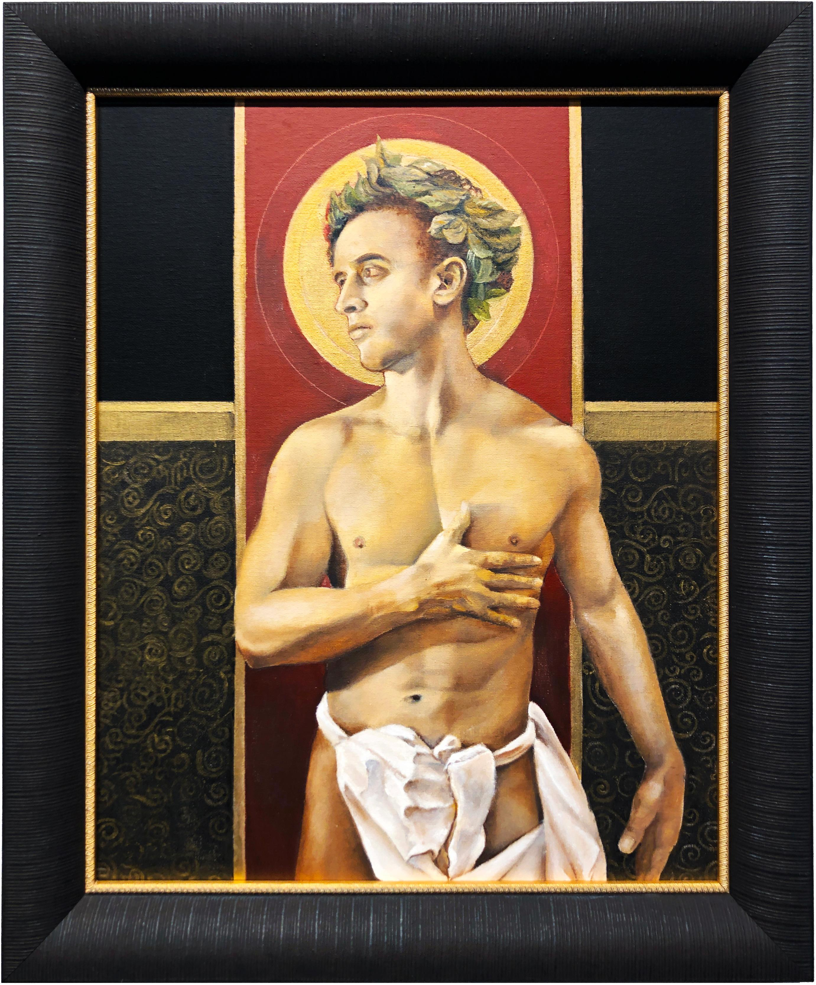 Saint Dante - Nude Male w/ Halo, Gazing to the Side, Black, Gold, Red Background