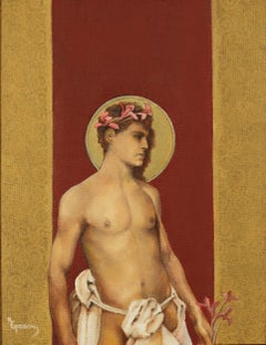 Saint II - Nude Male Torso Painting on Red and Gold by Richard Gibbons