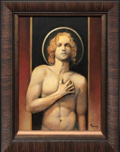 Sebastian, Male Nude Torso, Gazing Straight at the Viewer Black, Gold Background