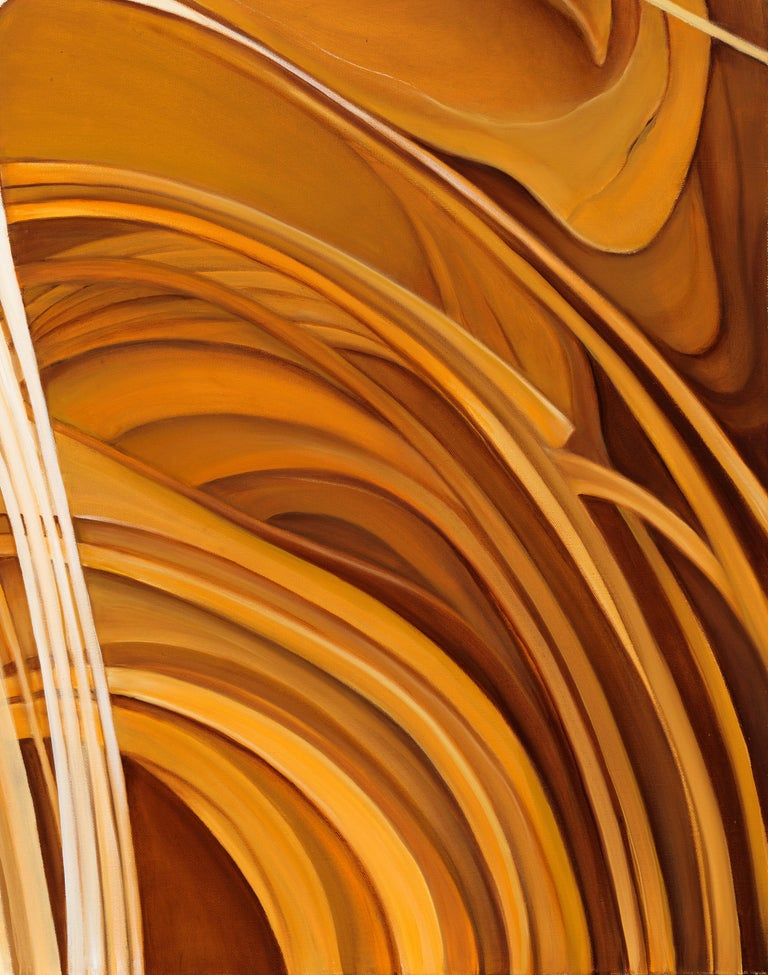 Solar Flare - Original Abstract Oil Painting, Swirling Shades of Gold and Brown For Sale 1
