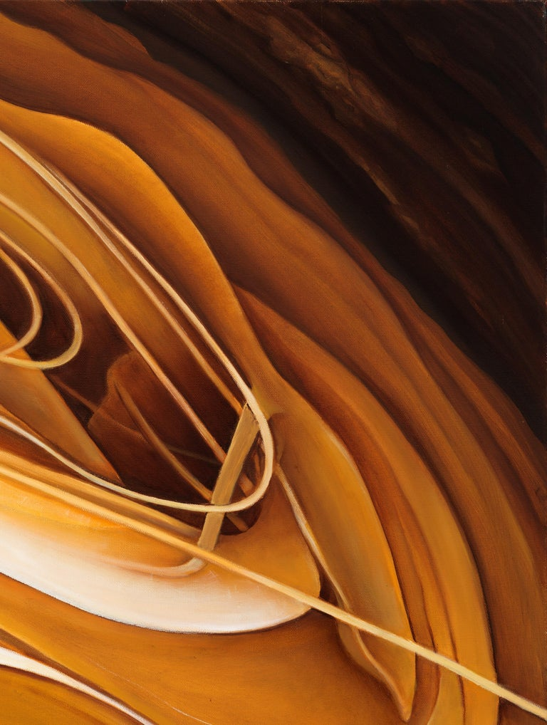 Solar Flare - Original Abstract Oil Painting, Swirling Shades of Gold and Brown For Sale 2