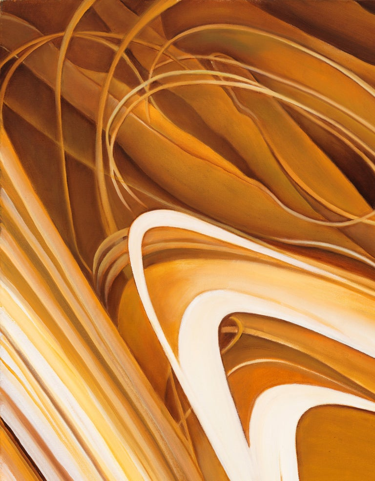 Solar Flare - Original Abstract Oil Painting, Swirling Shades of Gold and Brown For Sale 3