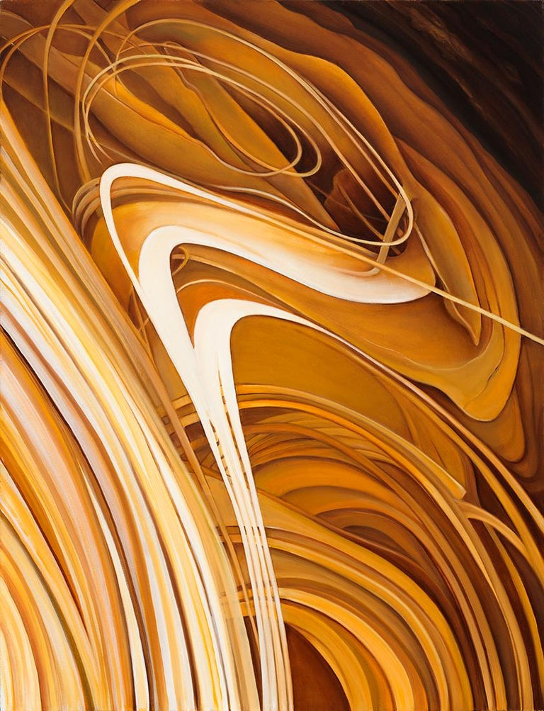 Richard Gibbons Abstract Painting - Solar Flare - Original Abstract Oil Painting, Swirling Shades of Gold and Brown