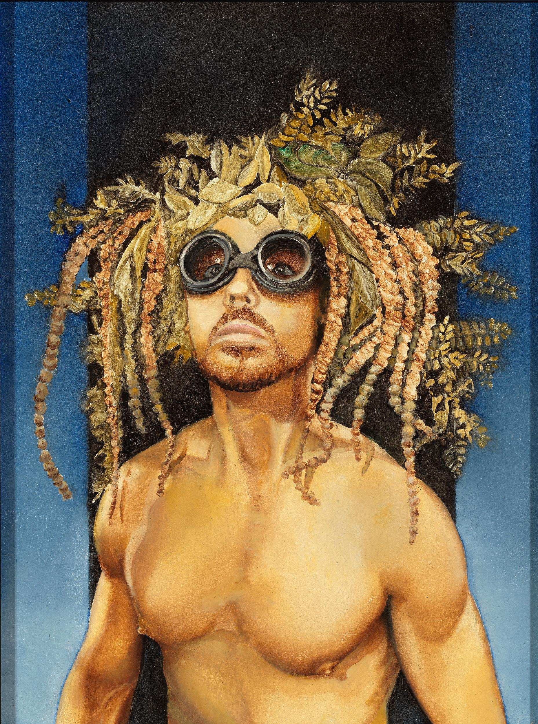 Survivalist - Nude Male Torso Painting on Blue by Richard Gibbons, Oil on Panel