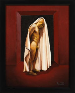 The Final Portal, Shrouded Male Nude on a Burgundy Backdrop, Oil on Panel