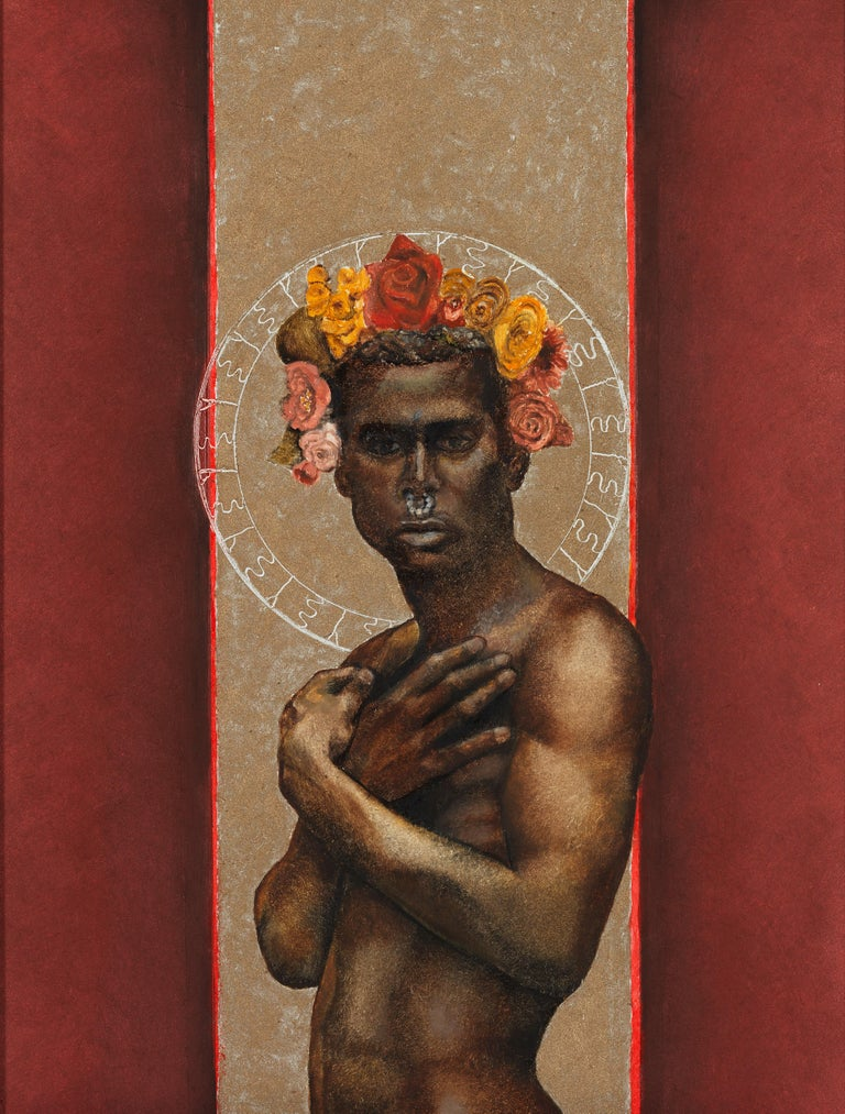 The Prophet Returns - Nude Male Torso, Beige & Burgundy Background, Oil on Panel - Painting by Richard Gibbons