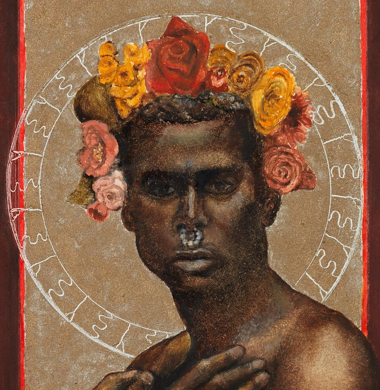 The Prophet Returns - Nude Male Torso, Beige & Burgundy Background, Oil on Panel - Contemporary Painting by Richard Gibbons