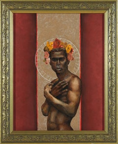 The Prophet Returns - Nude Male Torso, Beige & Burgundy Background, Oil on Panel