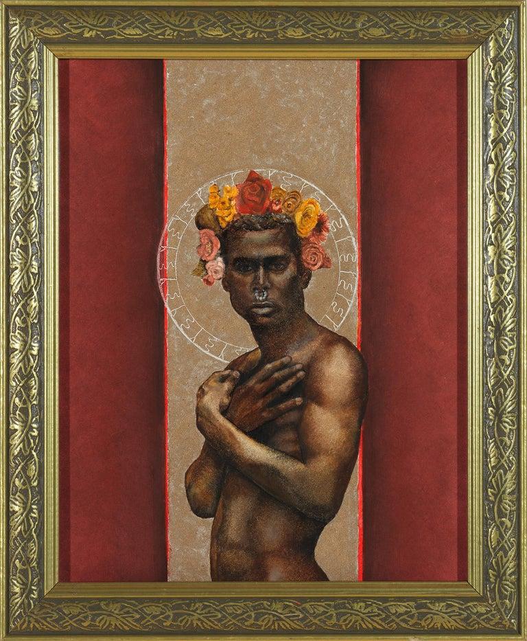 Richard Gibbons Figurative Painting - The Prophet Returns - Nude Male Torso, Beige & Burgundy Background, Oil on Panel