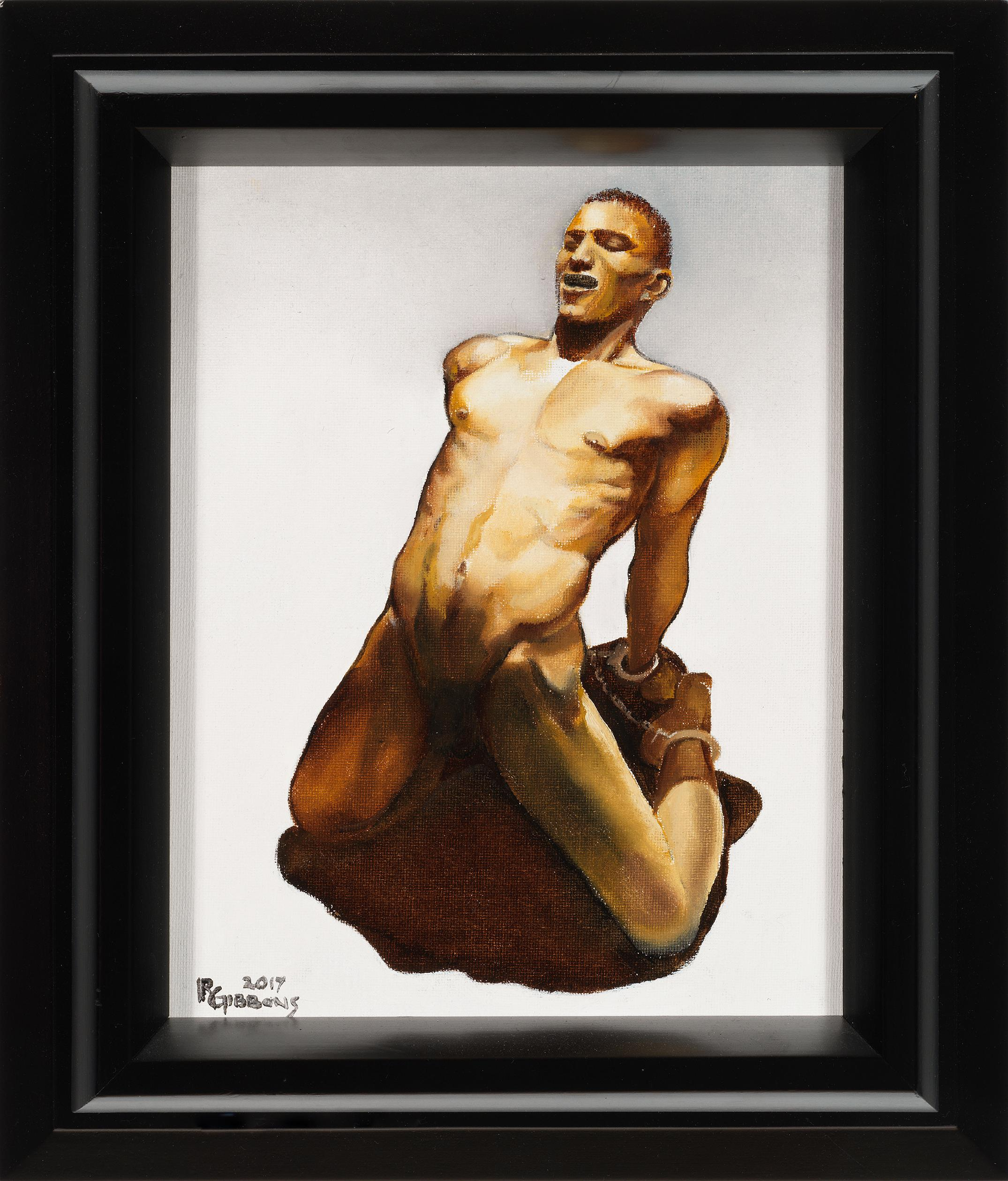 Trapped By His Own Shadow, Bound Nude Male Figure, Original Oil Painting, Framed
