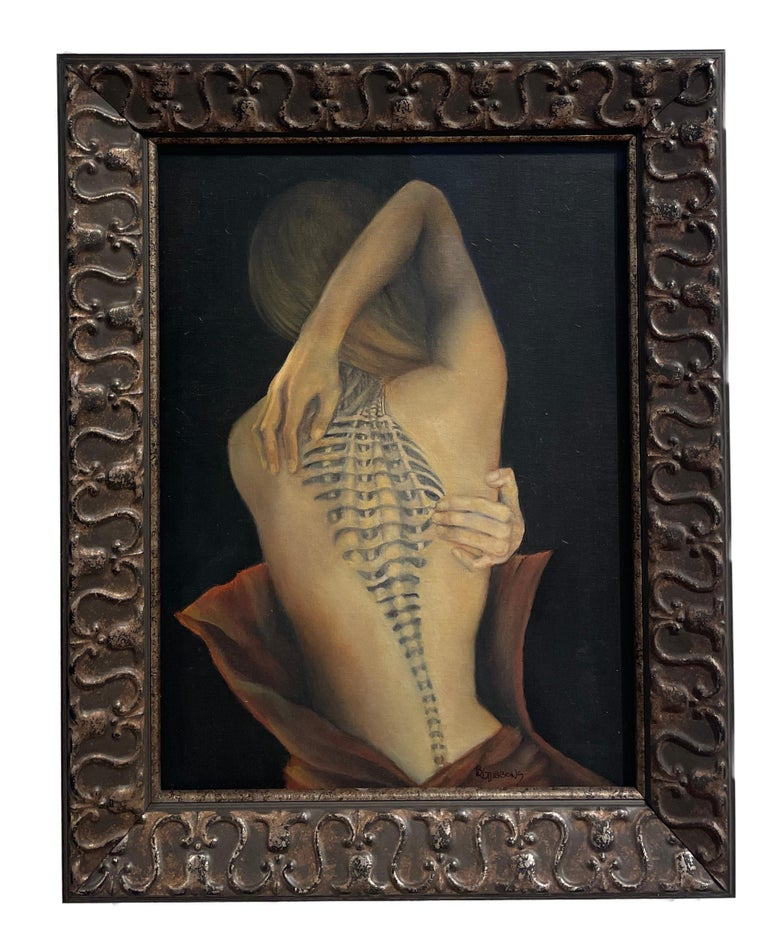 Trompe L'Oeil, Female Nude with Intricate Tattoo of the Spinal Column, Framed - Painting by Richard Gibbons